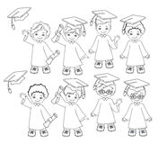 Coloring. Boys. Set of children in a graduation gown and mortarboard. Royalty Free Stock Photo