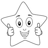 Coloring Brilliant Star Character Thumbs Up Stock Photo