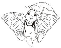 Coloring butterfly with umbrella. Coloring smiling butterfly fly and hold an umbrella oh her hands Royalty Free Stock Photography
