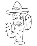 Coloring Cactus Character with Mexican Hat Royalty Free Stock Photography