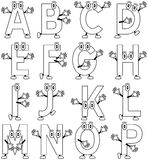 Coloring Cartoon Alphabet [1]. Funny cartoon alphabet – part 1, black and white version. Useful also for educational, preschool or colouring books for kids. In Stock Photography