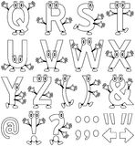 Coloring Cartoon Alphabet [2]. Funny cartoon alphabet – part 2, black and white version. Useful also for educational, preschool or colouring books for kids. In Stock Photo