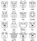 Coloring Cartoon Animal Faces Set [1]. Coloring illustration for kids: collection of 16 funny cartoon animal faces, isolated on white background. Eps file Stock Photo