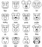 Coloring Cartoon Animal Faces Set [2]. Coloring illustration for kids: collection of 16 funny cartoon animal faces, isolated on white background. Eps file Royalty Free Stock Photo