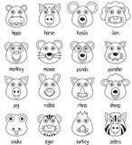 Coloring Cartoon Animal Faces Set [2] royalty free stock photo