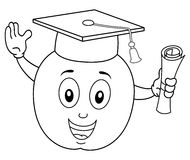 Coloring Cartoon Apple with Graduation Hat Stock Images