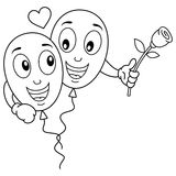 Coloring Cartoon Balloons Lovers in Love. Coloring illustration for kids: two cute cartoon balloons characters in love flying, isolated on white background. Eps Royalty Free Stock Images