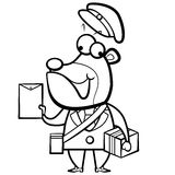 coloring cartoon bear postman with letter and pack Stock Photos