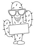 Coloring Cartoon Cactus with Sunglasses stock illustration