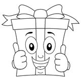 Coloring Cartoon Gift with Thumbs Up. Coloring illustration for kids: a cheerful cartoon gift character, with ribbon and bow, smiling with thumbs up, isolated on Stock Image