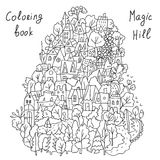 Coloring cartoon with landscape and houses Royalty Free Stock Image