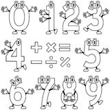 Coloring Cartoon Numbers. Funny cartoon numbers, black and white version. Useful also for educational, preschool or colouring books for kids. In my portfolio you Stock Image
