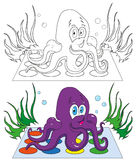 Coloring,cartoon octopus. Funny octopus playing the game vector illustration