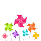 Coloring cartoon pinwheel toy, vector EPS 10. Stock Photography