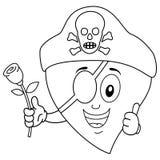 Coloring Cartoon Pirate Heart with Rose Stock Photos