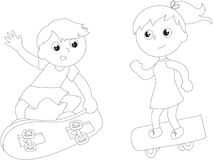 Coloring cartoon skateboarders isolated vector Royalty Free Stock Images