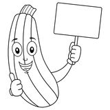 Coloring Cartoon Zucchini with Blank Banner. Coloring illustration for kids: a happy cartoon zucchini character with thumbs up and holding a blank banner Royalty Free Stock Photography