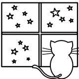 Coloring cat. An illustration of a cat watching stars Stock Photo