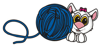 Coloring cat with a ball of thread Stock Photo