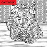 Coloring cat page for adults. Majestic cat with the crown looks pensive. Hand drawn illustration with patterns. Royalty Free Stock Image