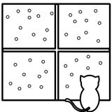 Coloring cat watching snow. An illustration of a cat watching snow Royalty Free Stock Photo