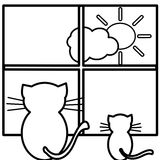 Coloring cats. An illustration of two cats Stock Photos