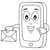 Coloring Cell Phone Character with Mail Stock Photography