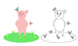 Coloring book for children with the image of a pig stock illustration