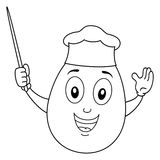 Coloring Cheerful Chef Egg with Pointer Royalty Free Stock Photo