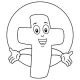 Coloring Cheerful Christian Cross Character royalty free illustration