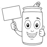 Coloring Cheerful Soda Can Holding Banner Stock Image