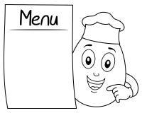 Coloring Chef Egg Character & Blank Menu Royalty Free Stock Image
