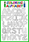 Coloring Children Alphabet With Cartoon Capital Letters. Children alphabet with funny cartoon capital letters. Coloring book children alphabet. Play and learn vector illustration