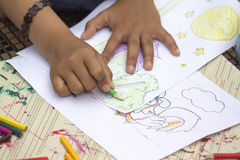 Coloring. Children playing coloring games in Thailand Stock Images