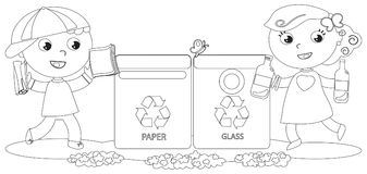 Coloring Children Recycling Boy And Girl In Paper Glass Bin Vector