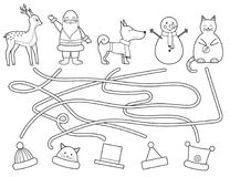 Coloring children`s Christmas maze. Educational game. Royalty Free Stock Images
