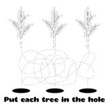 Coloring for Children with Trees. Coloring for children with the task of planting trees in the hole Royalty Free Stock Images