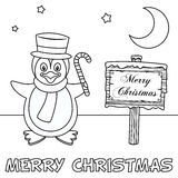 Coloring Christmas Card with Penguin. A coloring Christmas card with a cute penguin holding a candy cane near a wooden sign. Useful also for educational or Royalty Free Stock Image