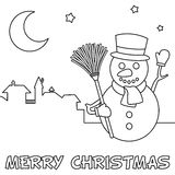 Coloring Christmas Card with Snowman Stock Photography