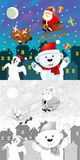 The coloring christmas page with colorful preview Royalty Free Stock Images