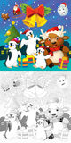 The coloring christmas page with colorful preview Royalty Free Stock Photos