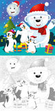The coloring christmas page with colorful preview Stock Photography