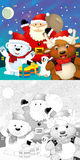 The coloring christmas page with colorful preview Stock Photos