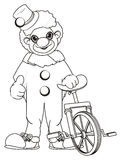 Coloring clown with monocycle Stock Photography