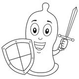 Coloring Condom with Sword and Shield royalty free stock images