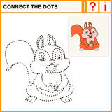Coloring. Connect the dots, preschool exercise task for kids, cheerful squirrel Royalty Free Stock Images