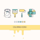 Coloring construction icons Stock Photo