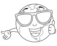 Coloring Cool Planet Earth with Sunglasses Stock Image