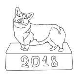 Coloring, corgi stands on a box, with the inscription 2018 Stock Photography