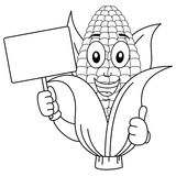 Coloring Corn Cob Character with Banner Stock Photography